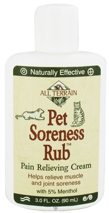 DROPPED: All Terrain - Pet Soreness Rub Pain Relieving Cream with 5% Menthol - 3 oz. CLEARANCE PRICED
