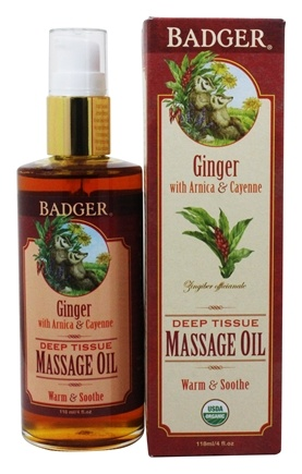 Badger - Massage Oil Deep Tissue Ginger with Arnica & Cayenne - 4 oz.