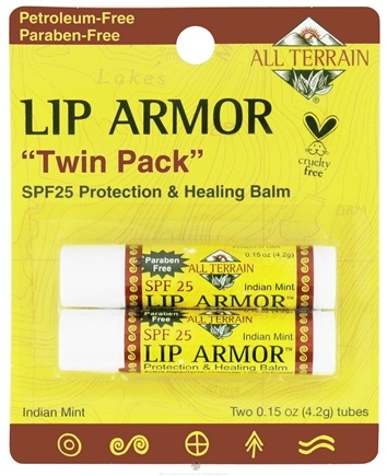 DROPPED: All Terrain - Lip Armor Protection & Healing Balm Indian Mint Flavor SPF 25 (2 x 0.15 oz) - 2 Tubes CLEARANCE PRICED