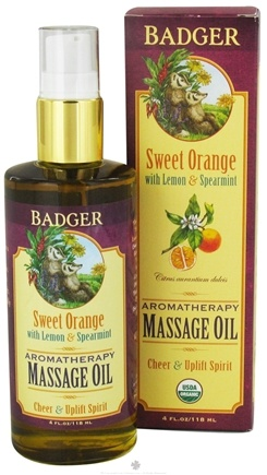 DROPPED: Badger - Massage Oil Aromatherapy Sweet Orange with Lemon & Spearmint - 4 oz. CLEARANCE PRICED