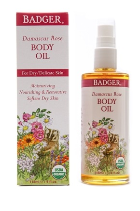 DROPPED: Badger - Body Oil Antioxidant Damascus Rose with Lavender & Chamomile - 4 oz. CLEARANCE PRICED