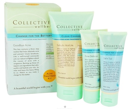 DROPPED: Collective Wellbeing - Change For The Better Goodbye Acne Medicated Acne Treatment Kit - 3 Piece(s)