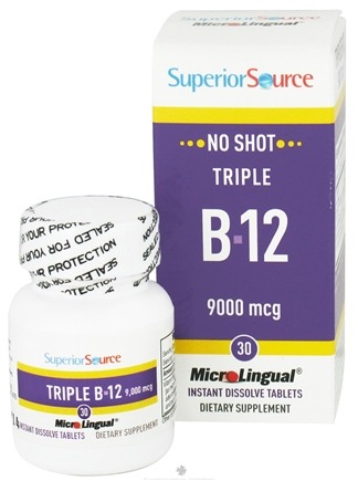 Superior Source - No Shot Triple B12 Instant Dissolve 9000 mcg. - 30 Tablets