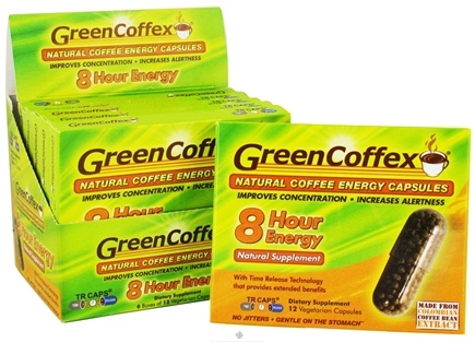 DROPPED: GreenCoffex - Natural 8 Hour Coffee Time Release Energy Capsules 200 mg. - 12 Vegetarian Capsules CLEARANCE PRICED