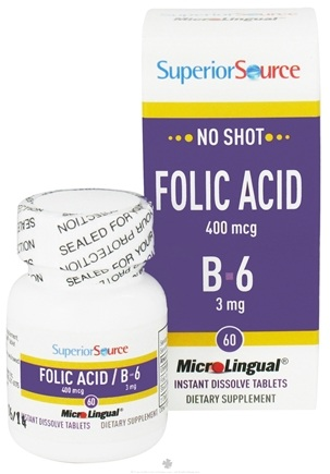 DROPPED: Superior Source - No Shot Folic Acid with B6 Instant Dissolve - 60 Tablets CLEARANCE PRICED