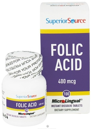 DROPPED: Superior Source - Folic Acid Instant Dissolve 400 mcg. - 100 Tablets CLEARANCE PRICED