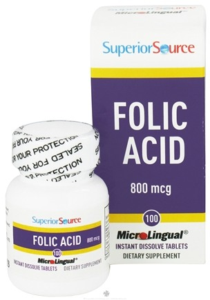 DROPPED: Superior Source - Folic Acid Instant Dissolve 800 mcg. - 100 Tablets CLEARANCE PRICED
