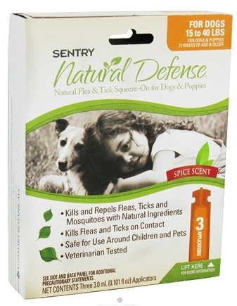 DROPPED: Sergeant's Pet Care - Sentry Natural Defense Flea & Tick Squeeze-On For Dogs 15-40 lbs. Spice Scent - 3 Applications