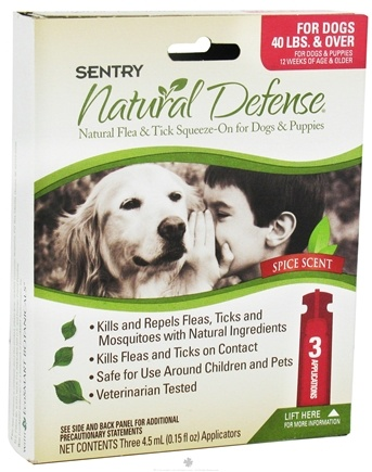DROPPED: Sergeant's Pet Care - Sentry Natural Defense Flea & Tick Squeeze-On For Dogs 40 lbs. & Over Spice Scent - 3 Applications