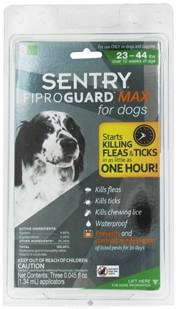 DROPPED: Sergeant's Pet Care - Sentry FiproGuard Max For Dogs 23-44 lbs. - 3 Applications,CLEARANCE PRICED