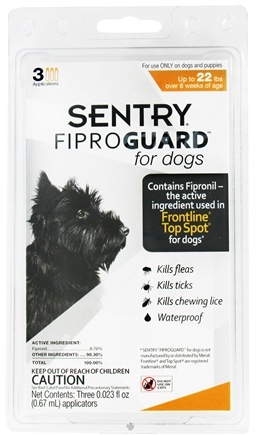 DROPPED: Sergeant's Pet Care - Sentry FiproGuard For Dogs Up To 22 lbs. - 3 Applications, CLEARANCE PRICED