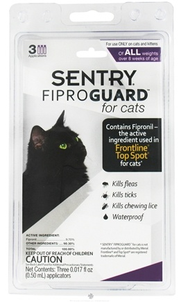 DROPPED: Sergeant's Pet Care - Sentry FiproGuard For Cats Of All Weights - 3 Applications