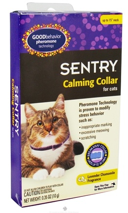 DROPPED: Sergeant's Pet Care - Sentry Good Behavior Pheromone Calming Collar For Cats Lavender Chamomile Fragrance - 15 in. CLEARANCE PRICED