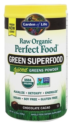 Garden of Life - Perfect Food Raw Super Green Formula Chocolate Cacao - 11.9 oz.
