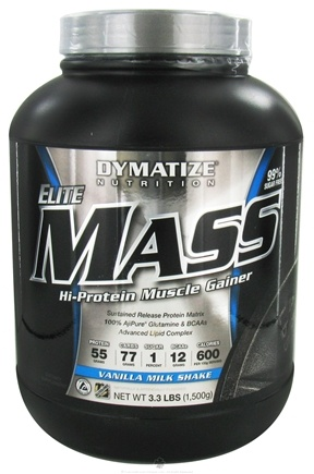 DROPPED: Dymatize Nutrition - Elite Mass Gainer Hi-Protein Muscle Gainer Vanilla Milkshake - 3.3 lbs. CLEARANCE PRICED