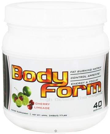 DROPPED: Better Body Sports - Body Form High Octane Thermogenic 40 Servings Cherry Limeade - 320 Grams