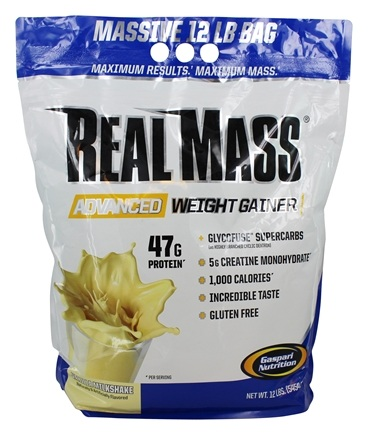 DROPPED: Gaspari Nutrition - Real Mass Probiotic Series Rich Vanilla Milkshake - 12 lbs. CLEARANCE PRICED