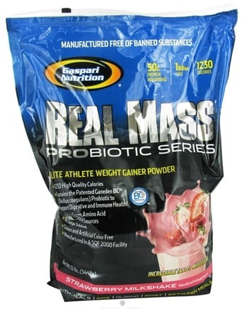 DROPPED: Gaspari Nutrition - Real Mass Probiotic Series Strawberry Milkshake - 12 lbs. CLEARANCE PRICED