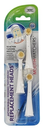 DROPPED: Mouth Watchers - Antibacterial Powered Toothbrush Brush Heads - 3 Pack