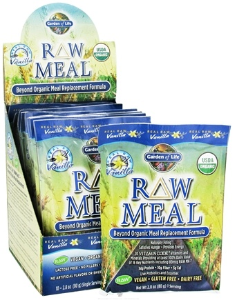 DROPPED: Garden of Life - RAW Meal Beyond Organic Meal Replacement Formula (10 x 87 g) Vanilla - 10 Packet(s) - (800 g) CLEARANCE PRICED