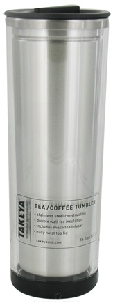 DROPPED: Takeya USA - Double Wall Stainless Steel Tea/Coffee Tumbler and Lid Clear - 16 oz. CLEARANCE PRICED