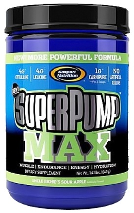 DROPPED: Gaspari Nutrition - SuperPump MAX Pre-Workout Formula Sour Apple - 1.41 lbs. CLEARANCE PRICED