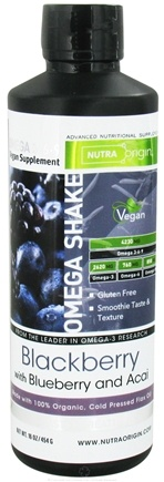 DROPPED: Nutra Origin - Omega 3-6-9 Vegan Shake Blackberry with Blueberry and Acai 4230 mg. - 16 oz.