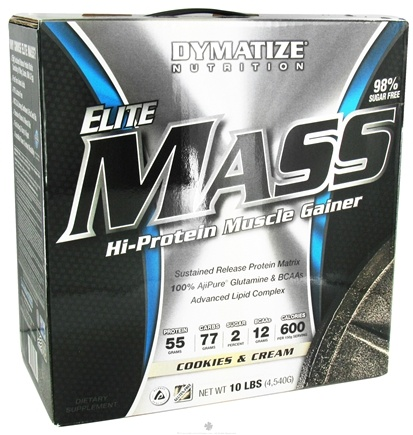 DROPPED: Dymatize Nutrition - Elite Mass Gainer Hi-Protein Muscle Gainer Cookies & Cream - 10 lbs.