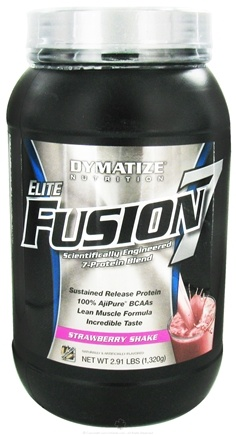 DROPPED: Dymatize Nutrition - Elite Fusion 7 Scientifically Engineered 7-Protein Blend Strawberry Shake - 2.91 lbs. CLEARANCE PRICED