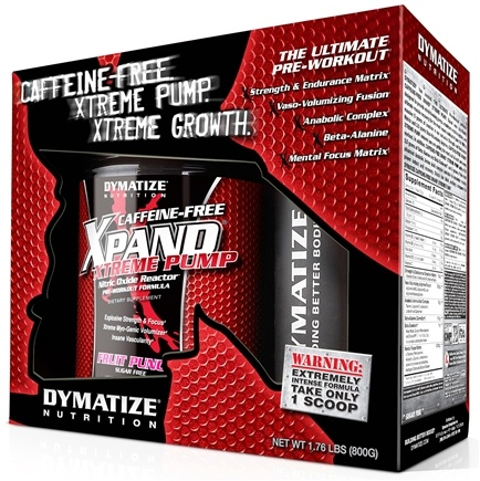 DROPPED: Dymatize Nutrition - Xpand Xtreme Pump Nitric Oxide Reactor With Free Shaker Caffeine Free Fruit Punch - 1.76 lbs.
