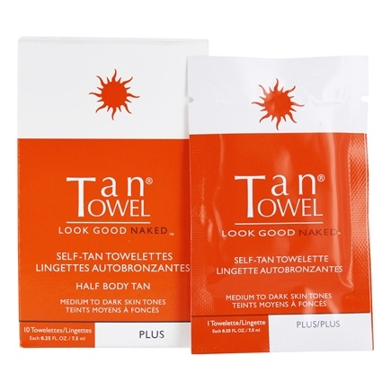 DROPPED: TanTowel - Half Body Application Plus Self-Tan for Medium to Dark Skin Tones - 10 Towelette(s)
