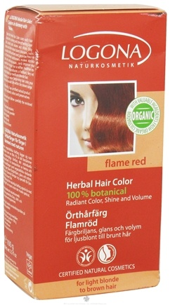 DROPPED: Logona - Herbal Hair Color 100% Botanical Flame Red - 3.5 oz. CLEARANCE PRICED