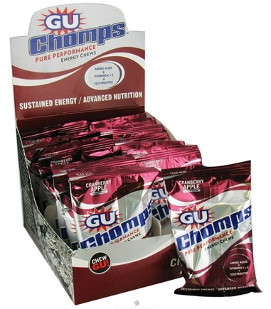 DROPPED: GU Energy - Chomps Pure Performance Energy Chews with Caffeine Cranberry Apple - 2.1 oz. CLEARANCE PRICED