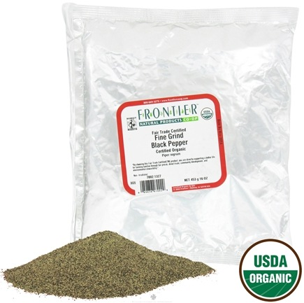 DROPPED: Frontier Natural Products - Black Pepper Fine Grind Organic Fair Trade Certified - 1 lb. CLEARANCE PRICED
