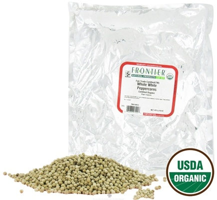 DROPPED: Frontier Natural Products - White Peppercorns Whole Organic Fair Trade Certified - 1 lb. CLEARANCE PRICED