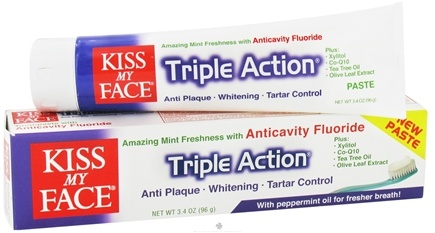 DROPPED: Kiss My Face - Triple Action with Peppermint Toothpaste with Anticavity Fluoride Amazing Mint - 3.4 oz.
