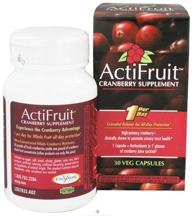 DROPPED: Enzymatic Therapy - ActiFruit Cranberry Supplement 500 mg. - 30 Vegetarian Capsules CLEARANCE PRICED