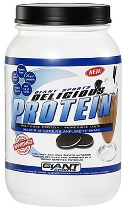 DROPPED: Giant Sports Products - Delicious Protein Powder Cookies & Creme - 2 lbs.