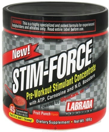 DROPPED: Labrada - Stim-Force Pre-Workout Stimulant Concentrate - 45 Servings Fruit Punch - 209 Grams CLEARANCE PRICED