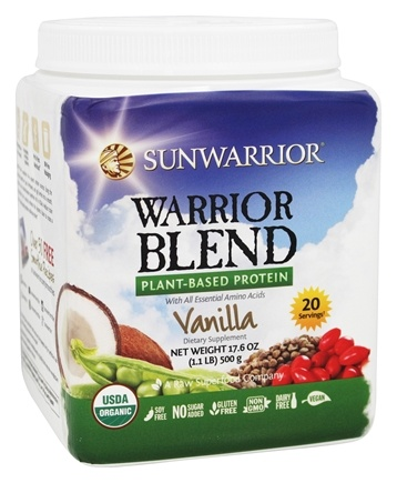 Sun Warrior - Warrior Blend Raw Vegan Protein Vanilla - 17.6 oz.