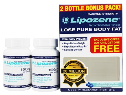 Lipozene - Amorphophallus Konjac Maximum Strength Fat Loss Supplement Bonus Pack 1500 mg. - 2 Pack