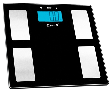 Escali - Body Fat, Water, Muscle Mass Digital Bathroom Scale USHM180G Black Glass