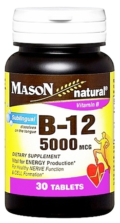 DROPPED: Mason Natural - Vitamin B-12 Dietary Supplement 5000 mcg. - 30 Sublingual Tablets CLEARANCE PRICED