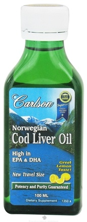 DROPPED: Carlson Labs - Norwegian Cod Liver Oil Liquid Travel Size Lemon Flavor - 100 ml.