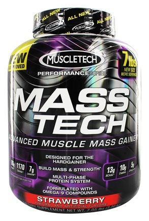 Muscletech Products - Mass Tech Performance Series Advanced Muscle Mass Gainer Strawberry - 7 lbs.