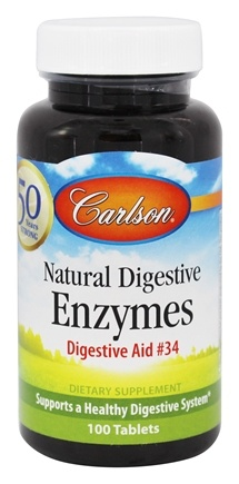 DROPPED: Carlson Labs - Natural Digestive Enzymes Digestive Aid #34 - 100 Tablets