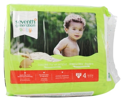Seventh Generation - Free and Clear Baby Diapers Stage 4 (22-37 lbs) - 27 Diaper(s)