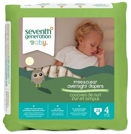 DROPPED: Seventh Generation - Overnight Diapers Stage 4 (22-37 lbs.) - 24 Diaper(s)
