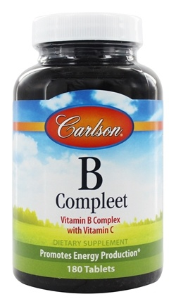 Carlson Labs - B-Compleet Vitamin B Complex with Vitamin C - 180 Tablets