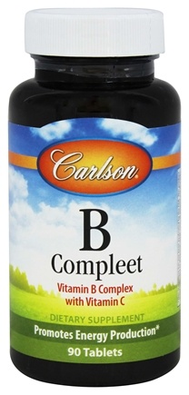 DROPPED: Carlson Labs - B-Compleet Vitamin B Complex with Vitamin C - 90 Tablets CLEARANCE PRICED